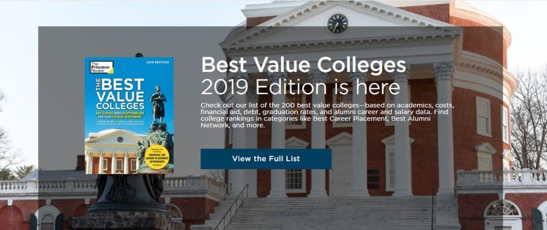 《普林斯顿评论》2019最佳投资回报大学排名!公立大学里面她是第一!