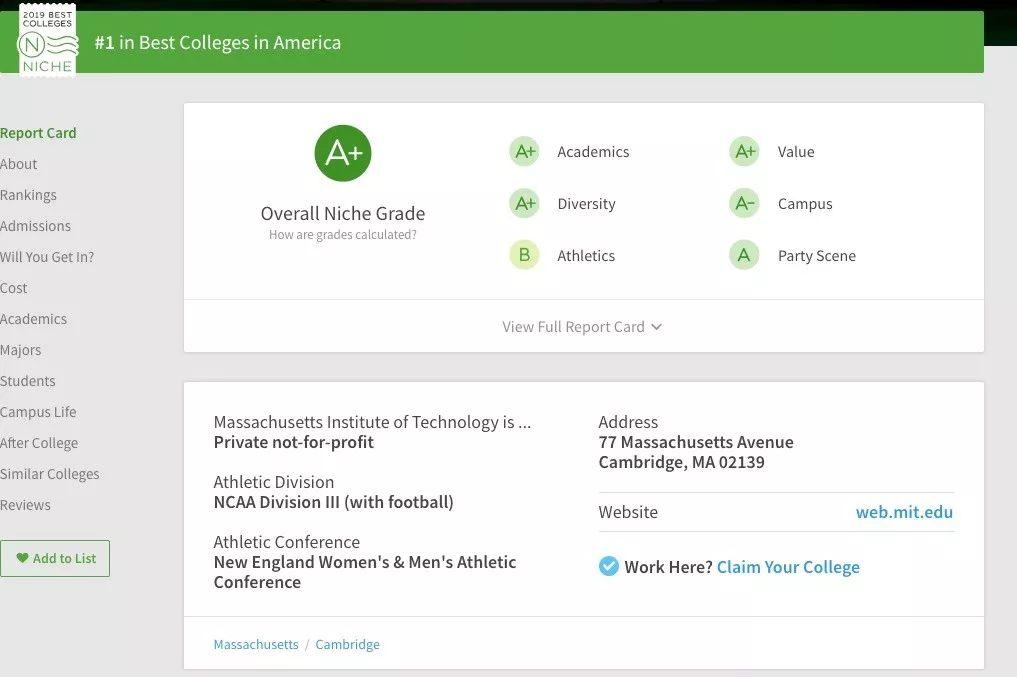 Niche2019美国最佳大学排名新鲜出炉!性价比最高的大学是麻省理工!