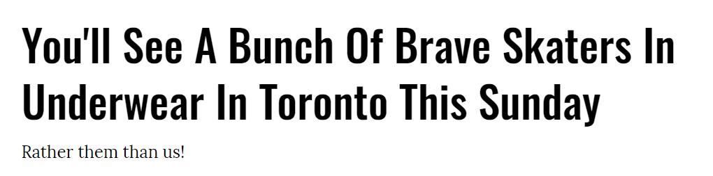 """大胆""""脱""""一次吧!多伦多本周日举行内衣溜冰比赛!"""