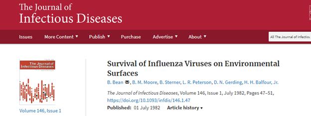 流感病毒在衣服袖子和电梯按钮上能活多久?