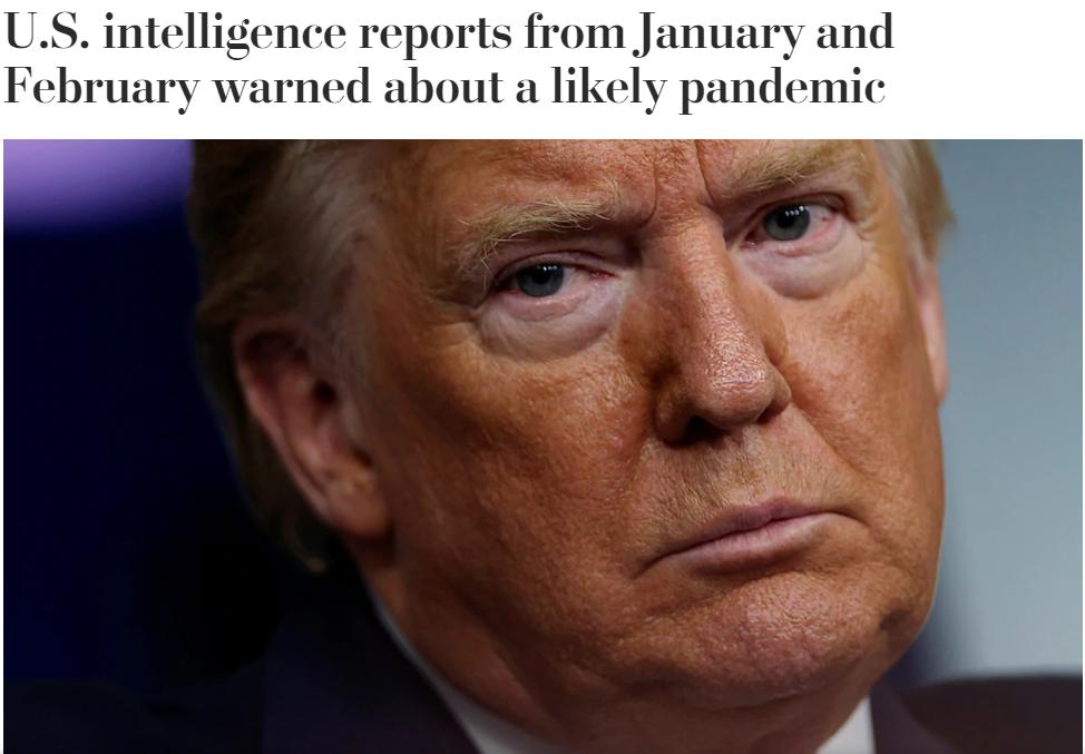 《外交政策》:新冠状病毒是美国历史上最严重的情报失败 全是川普领导的过错