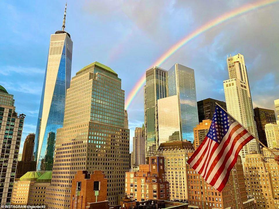 """天意! 疫情拐点下,双虹横贯曼哈顿, 真正的""""风雨之后见彩虹""""!"""